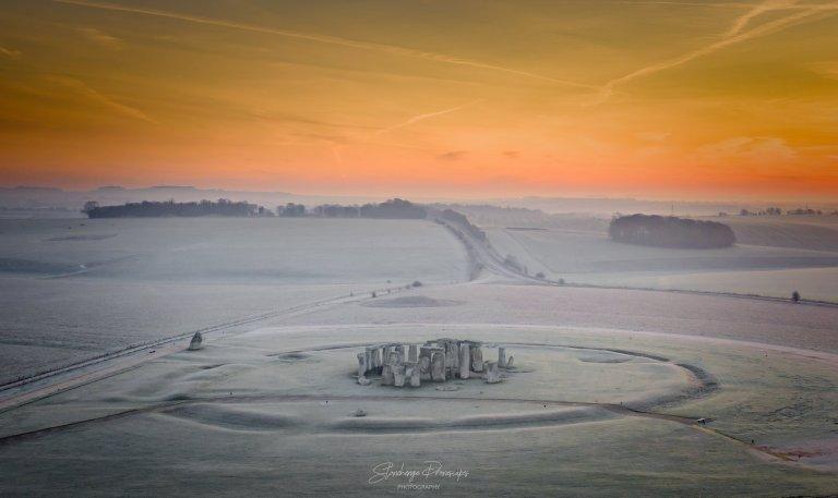 A  new circle discovered near Stonehenge, is more than 10 metres in diameter and five metres deep.  Photo taken by Stonehenge Dronescapes.